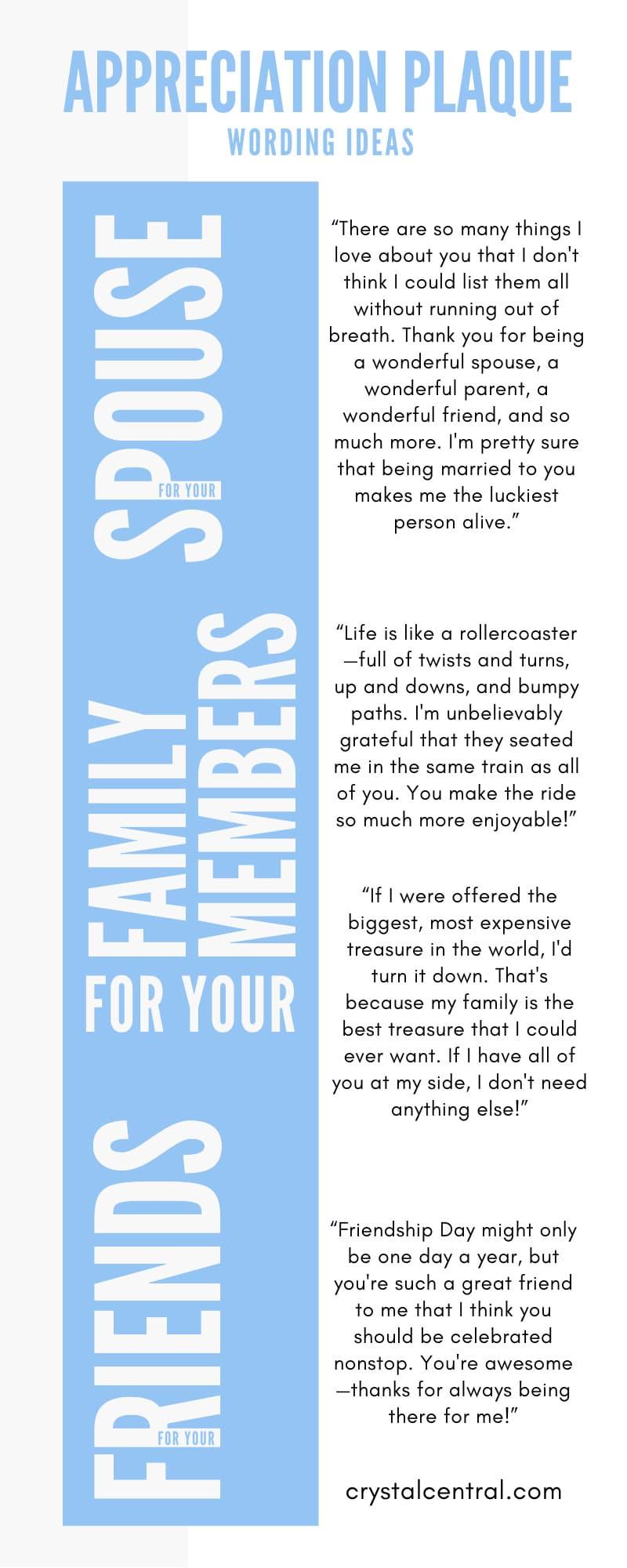 Appreciation Plaque Wording Ideas