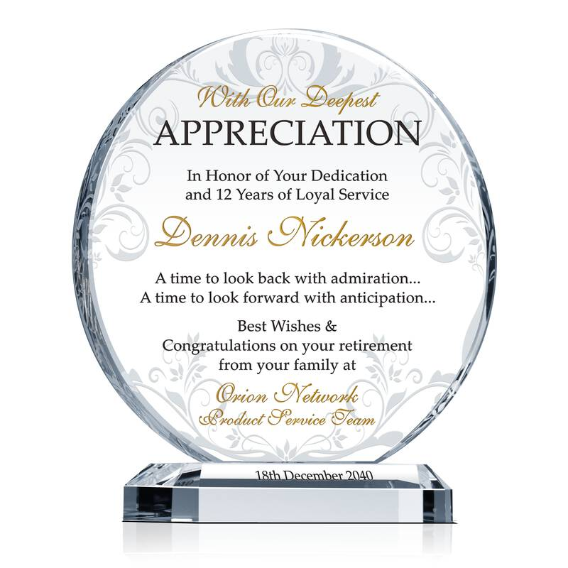 Retirement Appreciation Gift Plaque Wording Sample By