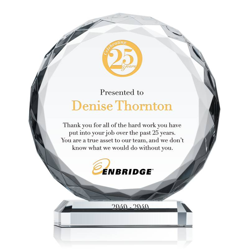 25 Years Of Service Award Plaque Wording Sample By