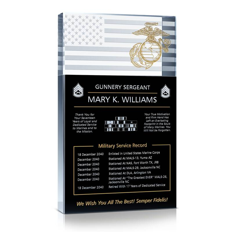 Marine Sergeant Retirement Gift Wording Sample By
