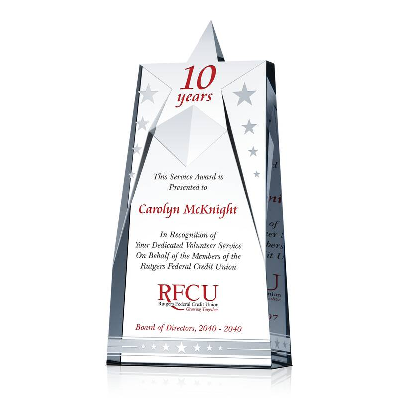 Rutgers Federal Credit Union >> Star Volunteer Service Recognition Plaque Wording Sample By