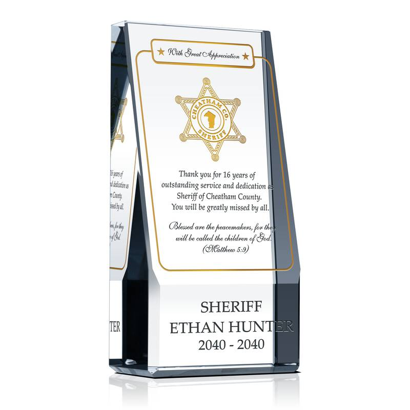 Religious Retirement Award For Sheriff Wording Sample By