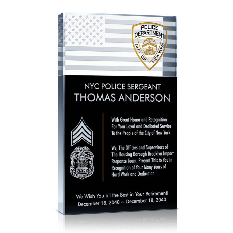 Police Sergeant Retirement Plaque Wording Sample By