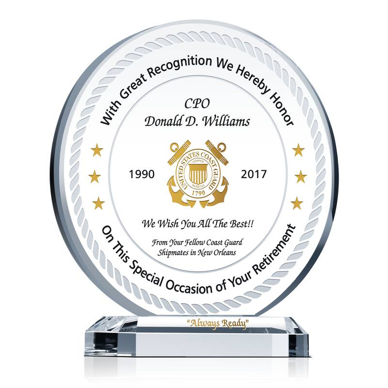 Coast Guard Retirement Plaque Wording Sample By Crystal Central