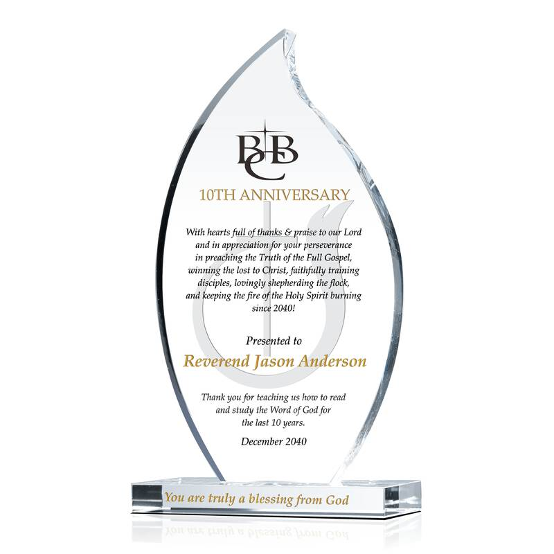 Pastor 10 Year Anniversary Award Plaque Wording Sample