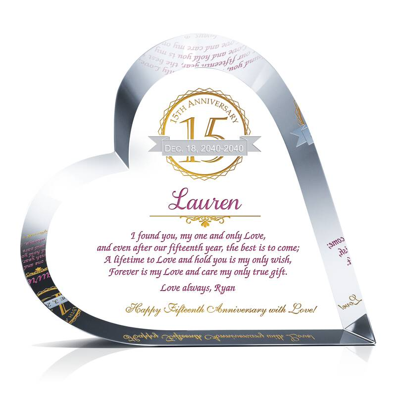 Crystal 15th Anniversary Gift To Wife Wording Sample By