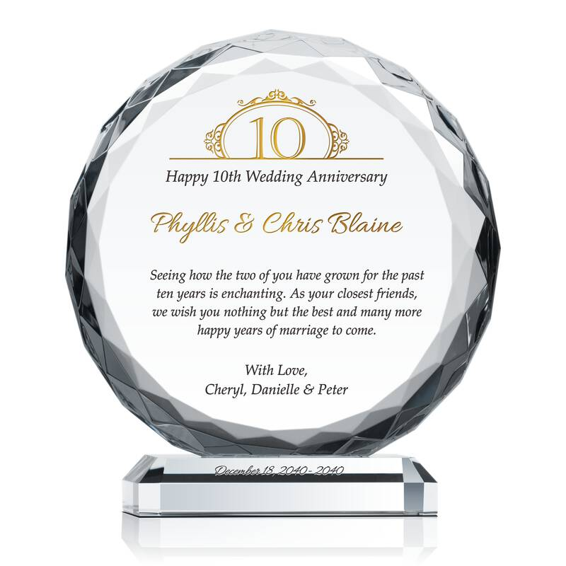 Happy 10th Wedding Anniversary Gift Wording Sample By