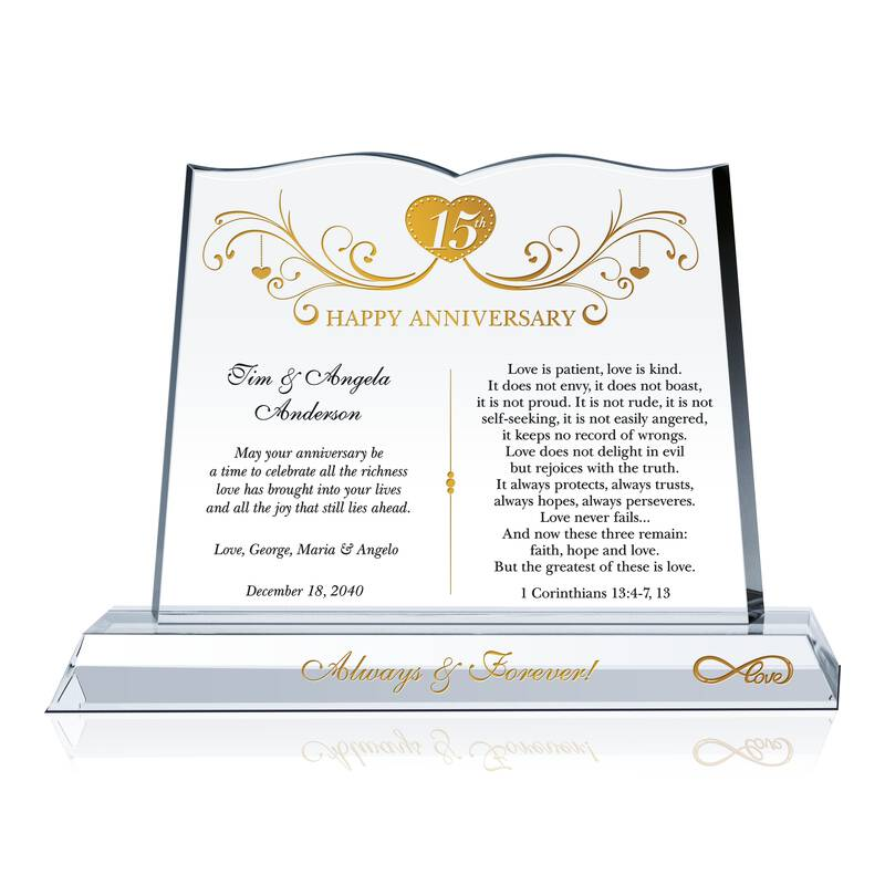 15 Years Anniversary Gift For Couple Wording Sample By Crystal Central