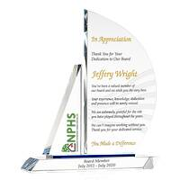 Crystal Sailboat Departing Board Member Appreciation Gift Plaque