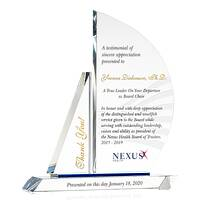 Personalized Crystal Appreciation Gift Plaque for Outgoing Chairman, President