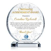 Crystal Employee Achievement Award Plaque