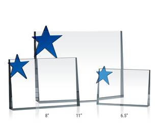 Horizontal Crystal Star Plaques