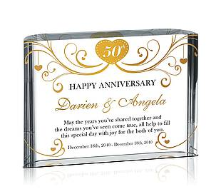 Crystal Custom Engraved 50th Wedding Anniversary Gifts - Crystal ...