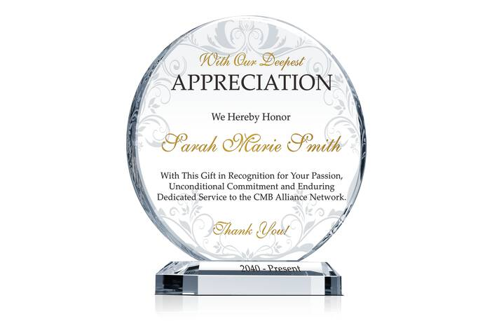 Circle Appreciation Gift Plaques - Crystal Central
