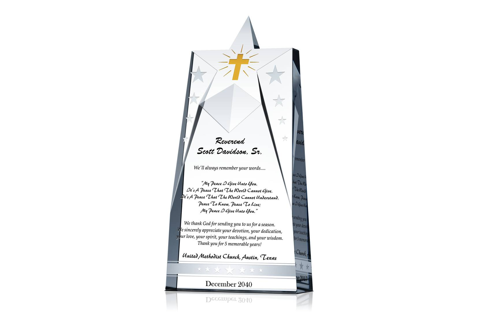 Star Pastor Appreciation Gift Plaques - Crystal Central