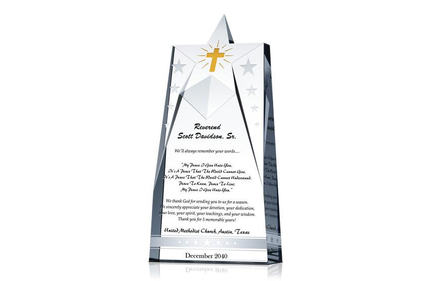 Star Pastor Appreciation Gift Plaques - Crystal Central