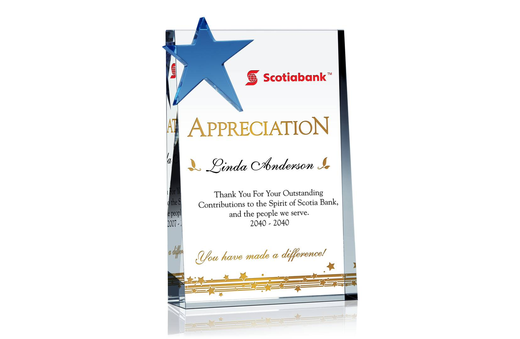Star Employee/Staff Appreciation Plaque - Crystal Central