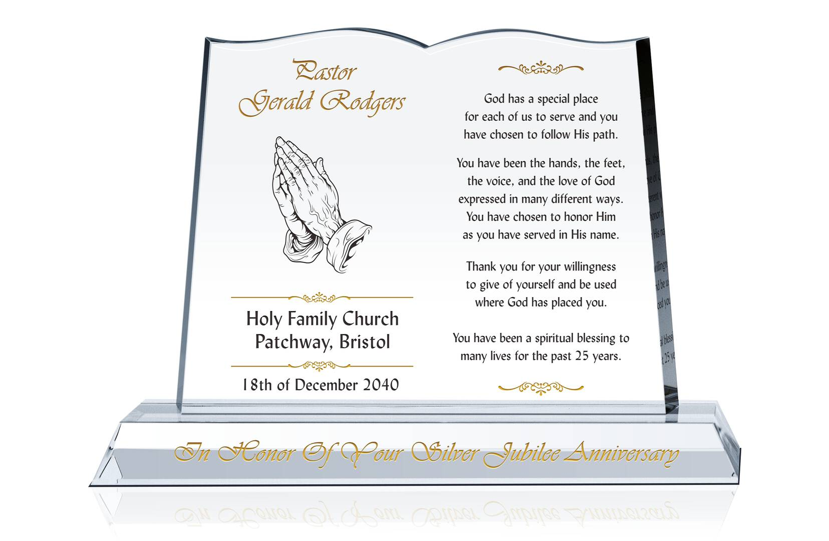 Bible Ordination Anniversary Gift - Crystal Central