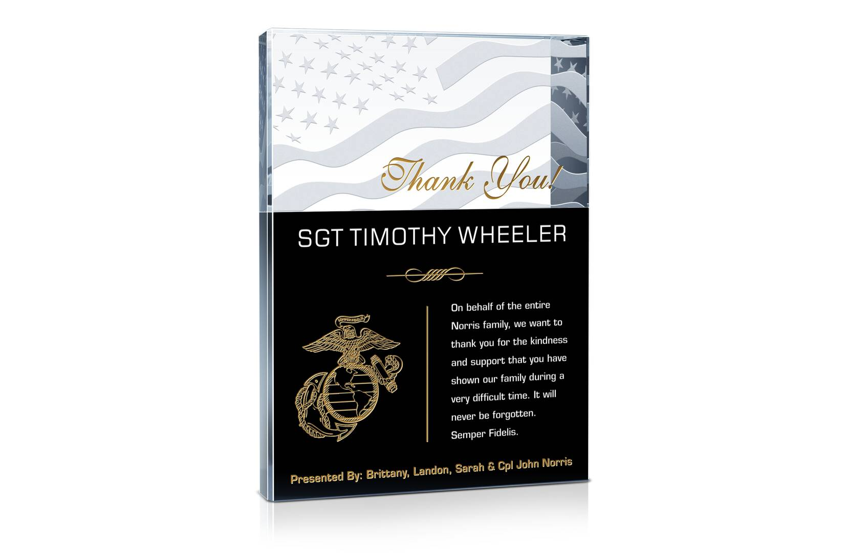 Thank You Marines! Plaque