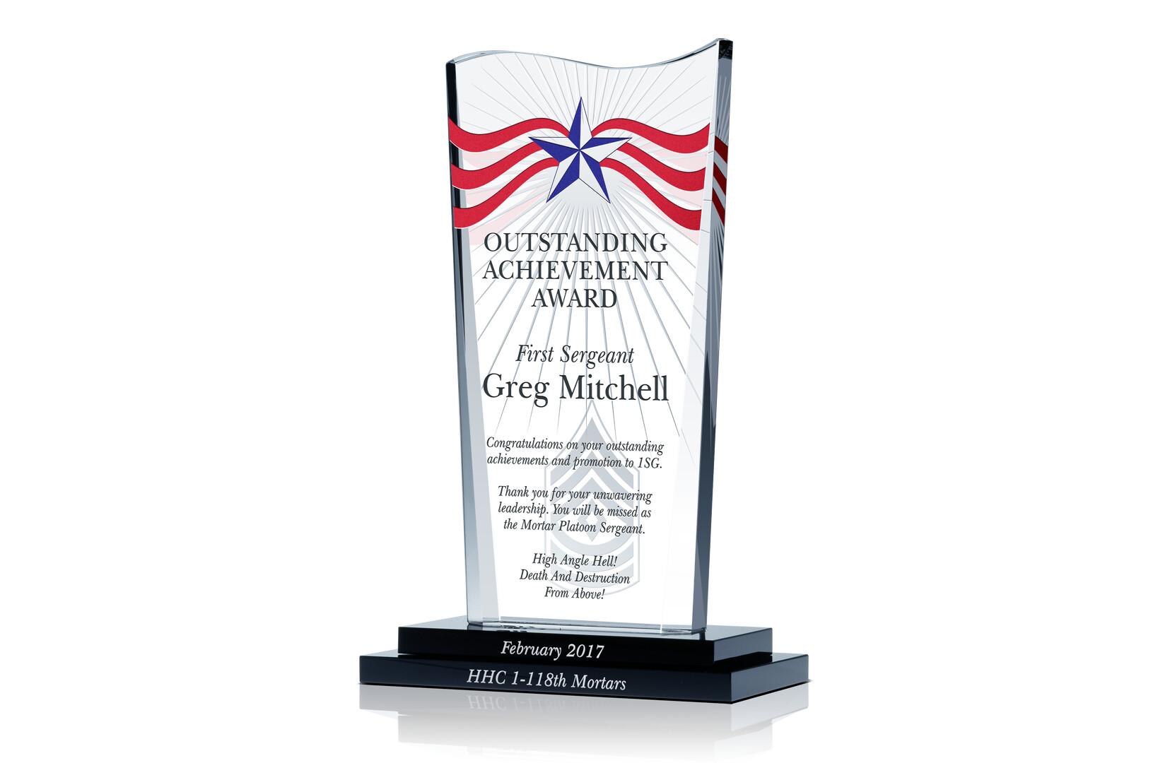 army achievement award crystal central army achievement award