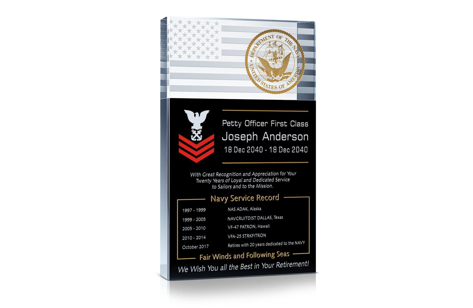 navy retirement plaque