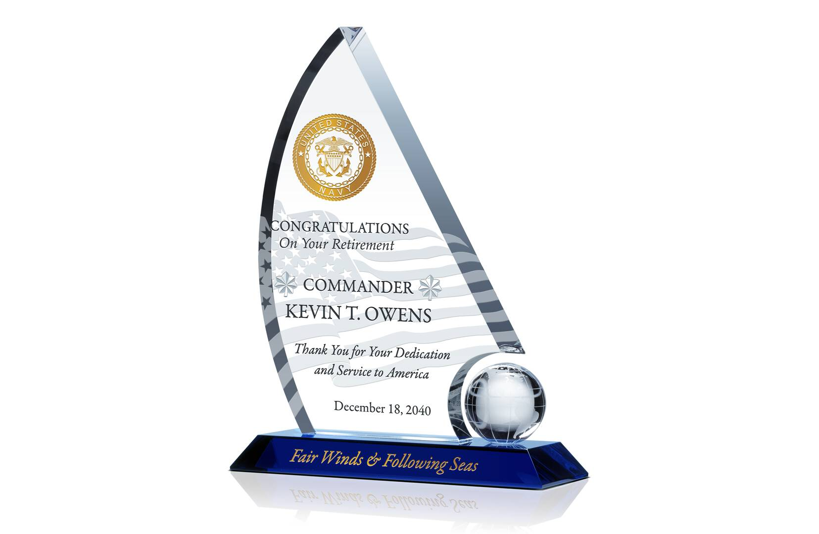 Military Retirement Gift Crystal Central