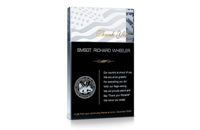 Military Thank You Award Wording