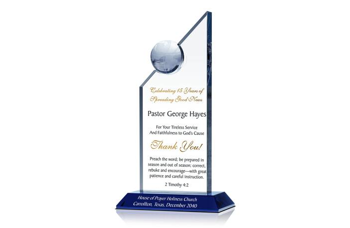 Thank You Gift Plaque for Pastors - Crystal Central