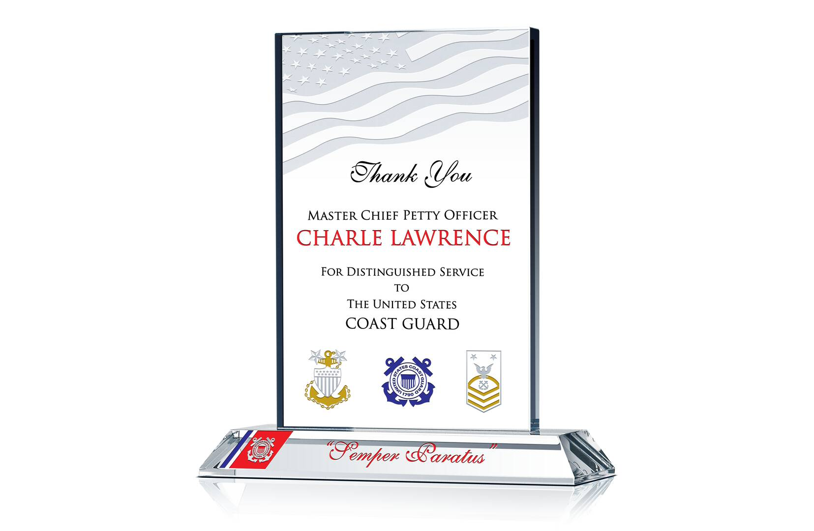 Uscg Recognition Plaque Crystal Central