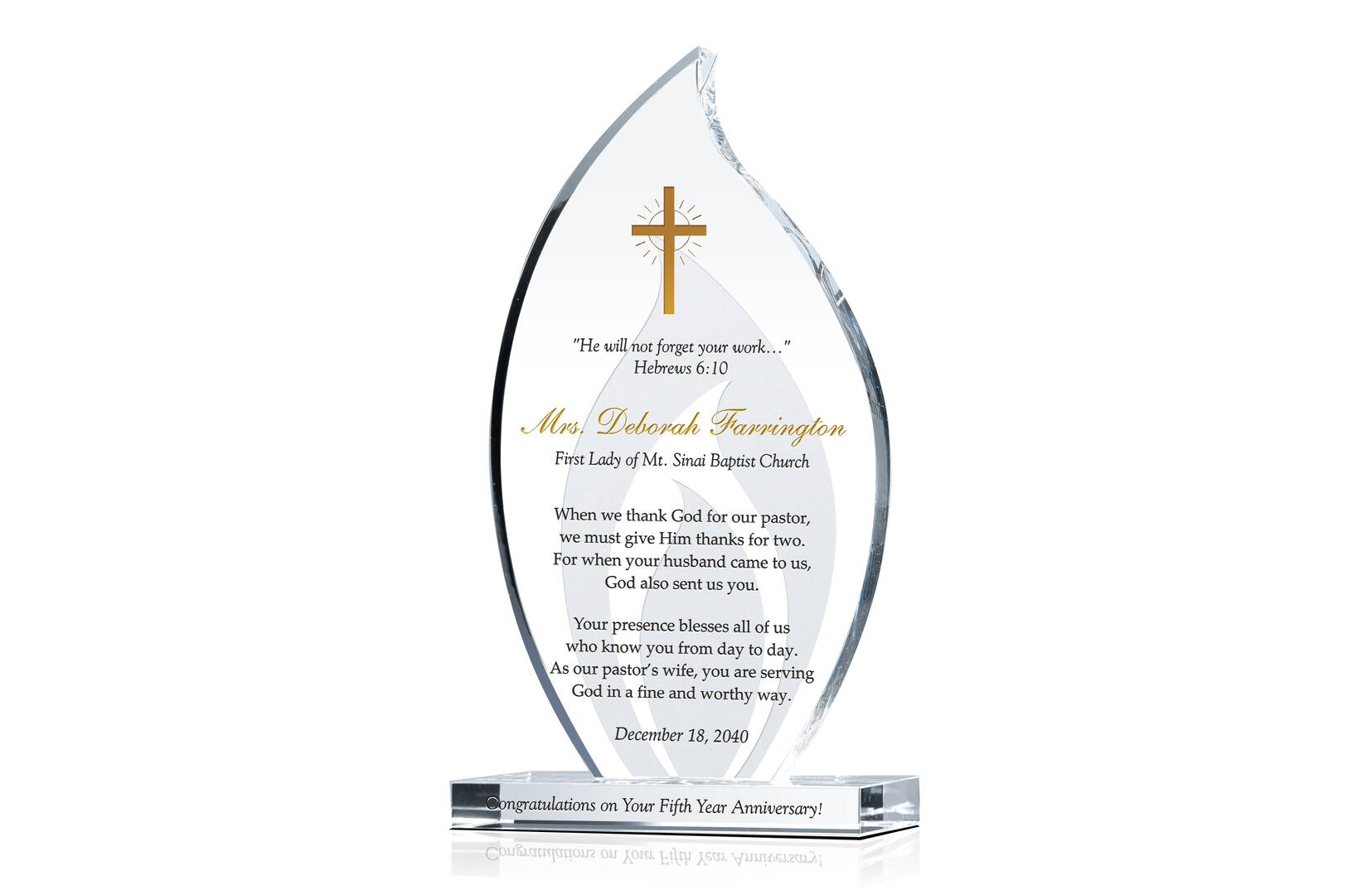 Pastor Wife Congratulations Gift Plaque