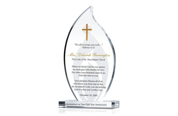 Pastor Wife Congratulations Gift Plaque Crystal Central