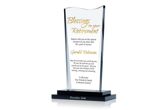 """Blessing on your Retirement"" Religious Employee Retirement Gift plaque"
