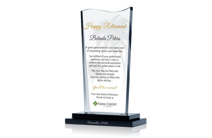Crystal Happy Retirement Gift Plaque for Colleague and Friend
