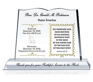 Minister Retirement Gift Plaque
