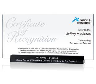 Service Recognition Certificate Plaque