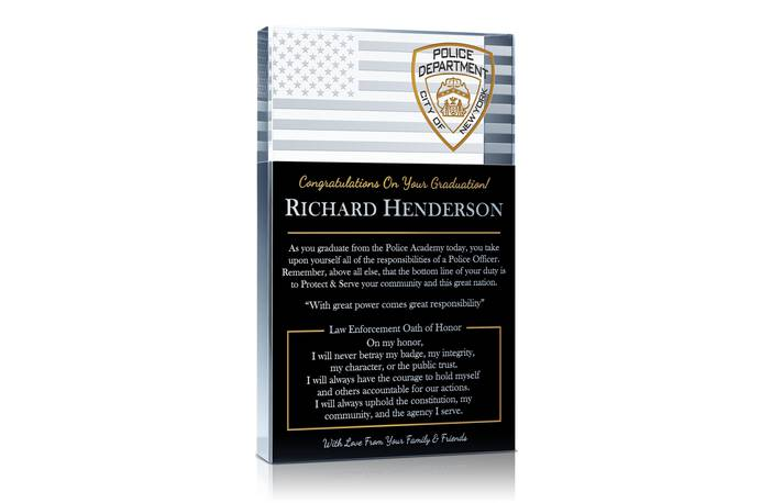 police academy graduation quotes wishes and gift plaque wording idea