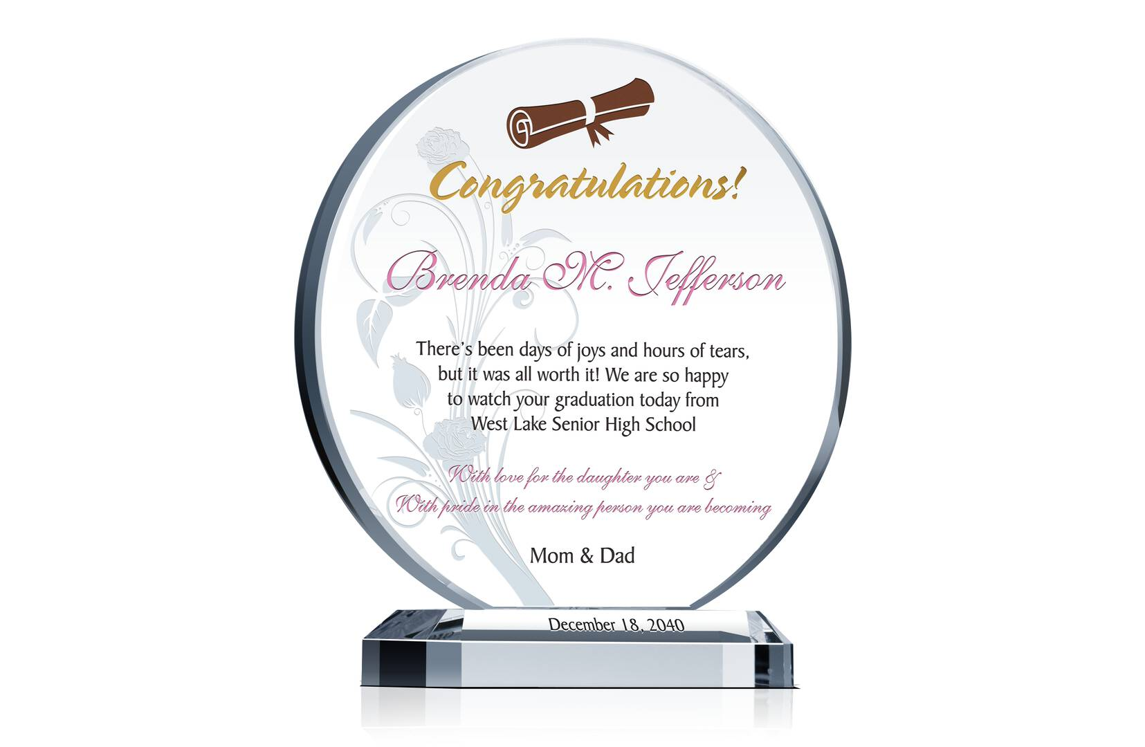 High School Graduation Gift Plaque - Crystal Central