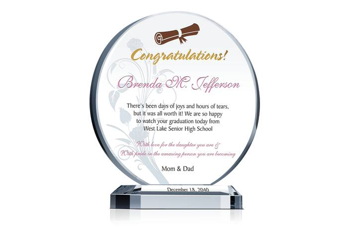 High School Graduation Gift Plaque Crystal Central