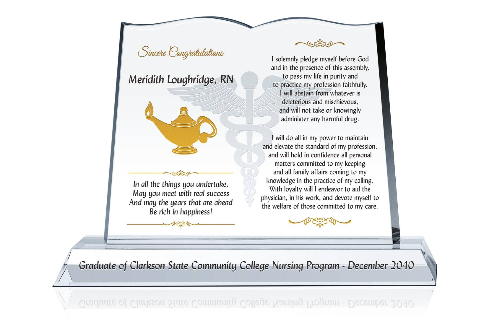 nursing graduation gift plaque   crystal central
