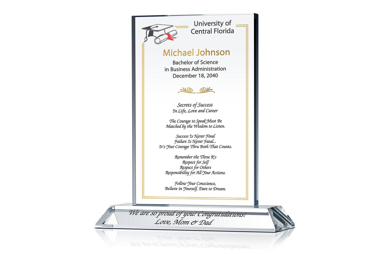 College Graduation Gift Plaque - Crystal Central