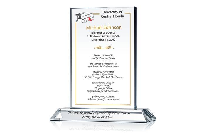 College Graduation Gift Plaque Crystal Central