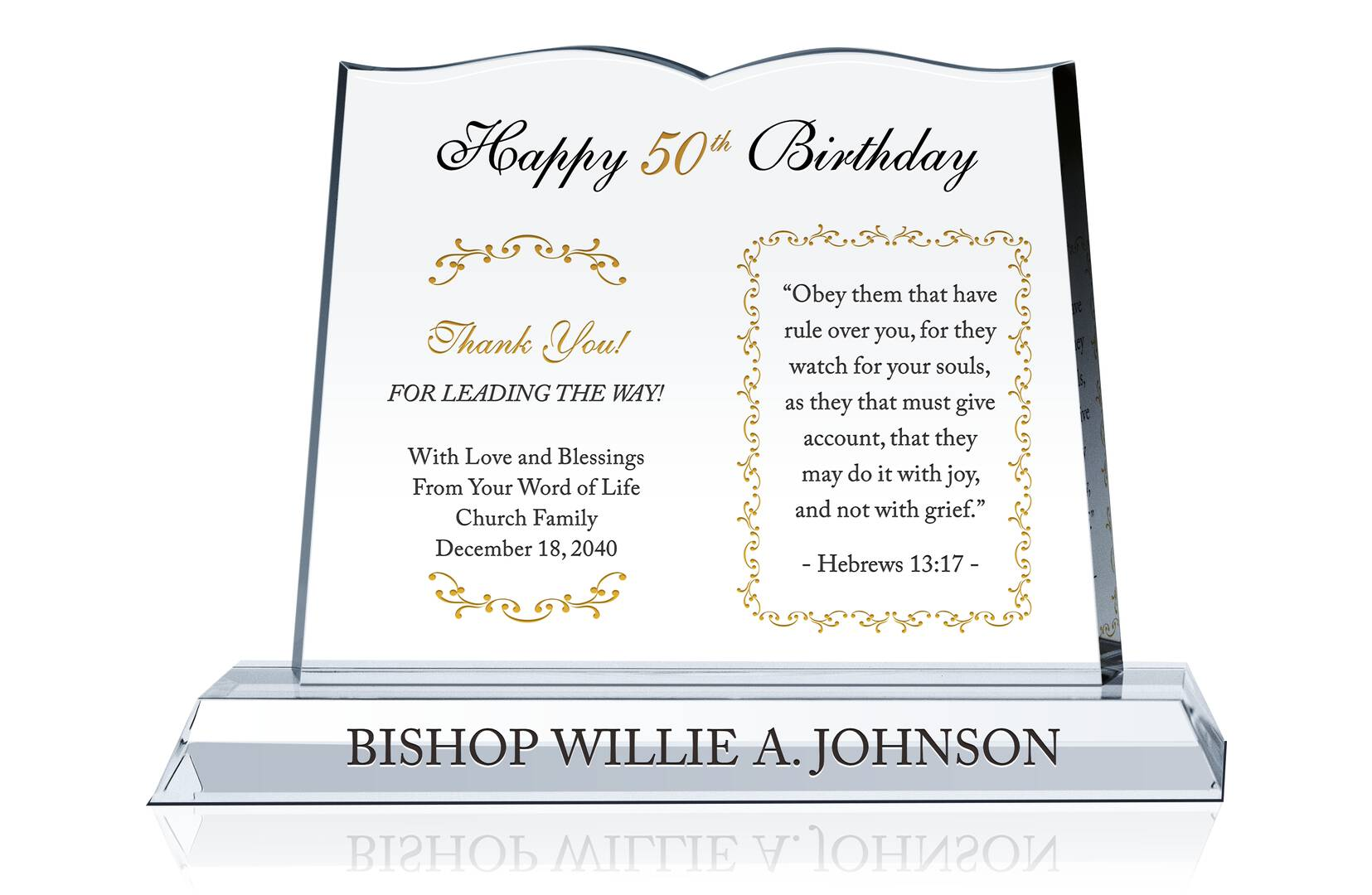 Religious Pastor Birthday Gift Crystal Central