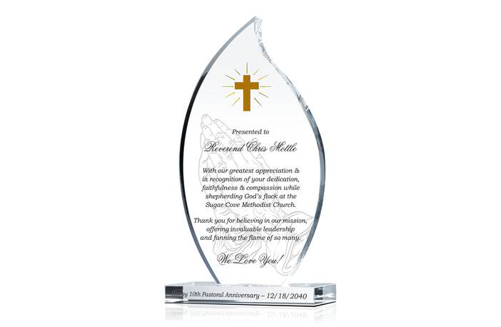 Pastor 10th Anniversary Gift Plaque Crystal Central