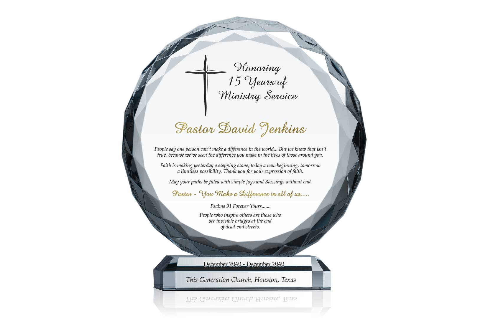 Pastor Anniversary Gift Idea Crystal Central