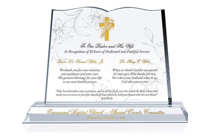 Pastor and Wife Anniversary Gift Plaque