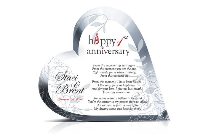 Crystal Wedding Anniversary Gifts For Her: Heart First Anniversary Gift