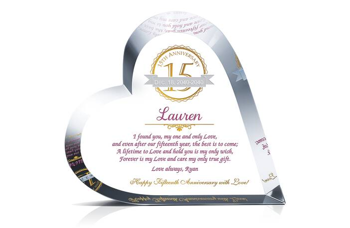 15th Wedding Anniversary Gift Ideas For Wife: Crystal Heart 15th Anniversary Gift