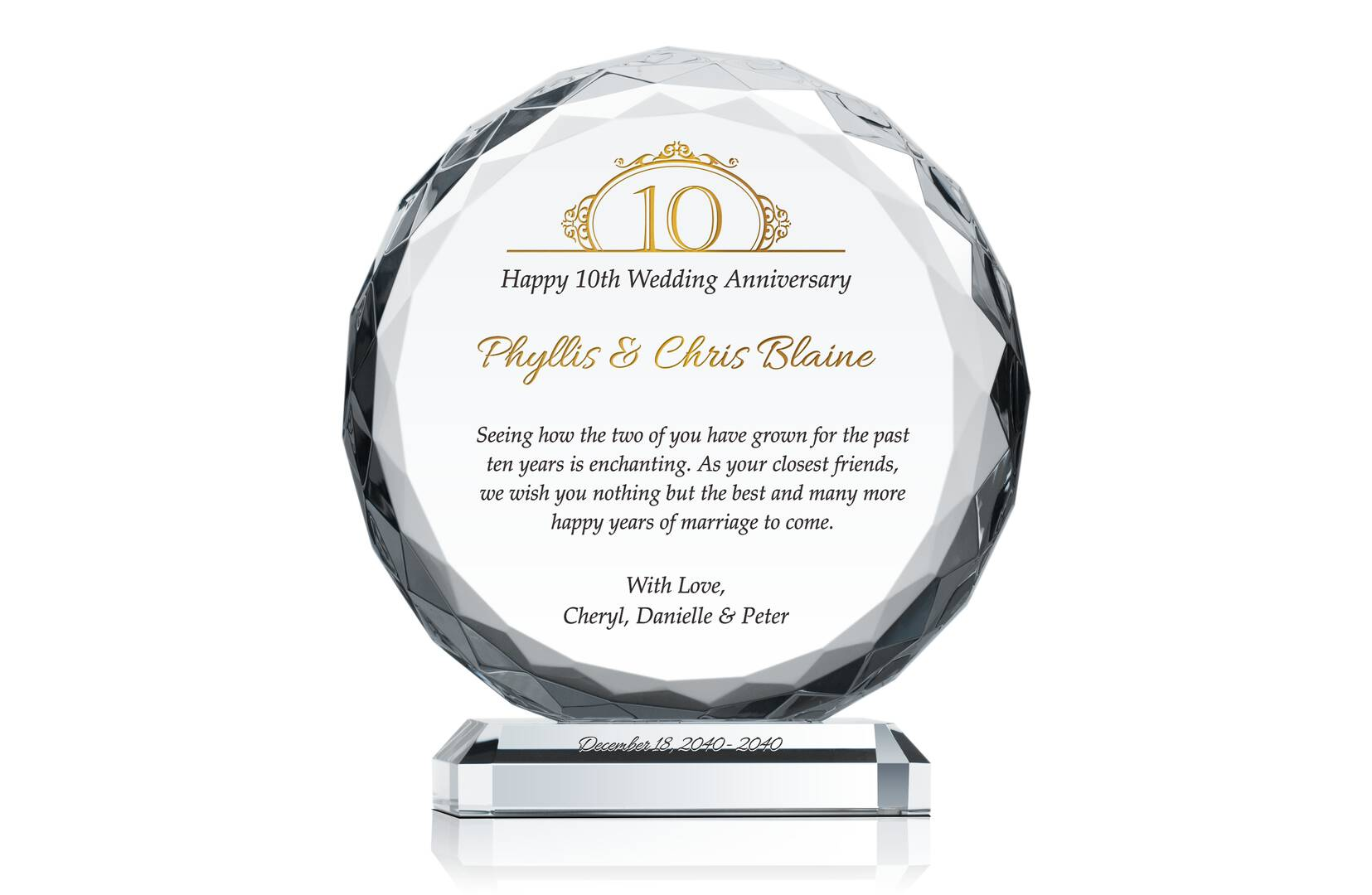 10 Years Anniversary Gift For Couple Crystal Central