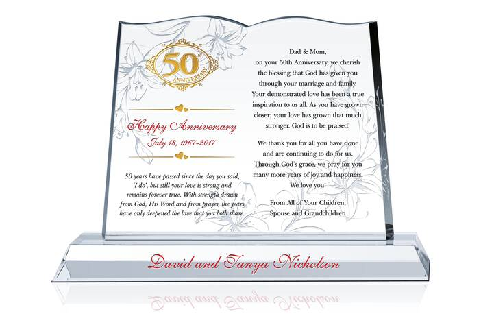 50th Anniversary Gift for Parents