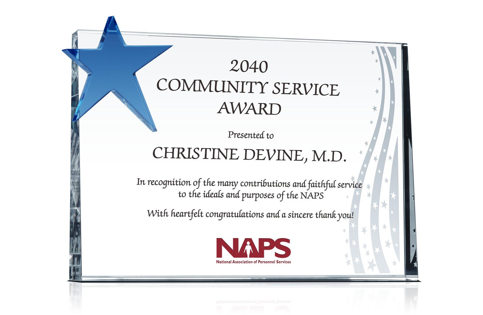 Community Service Award Plaque - Crystal Central